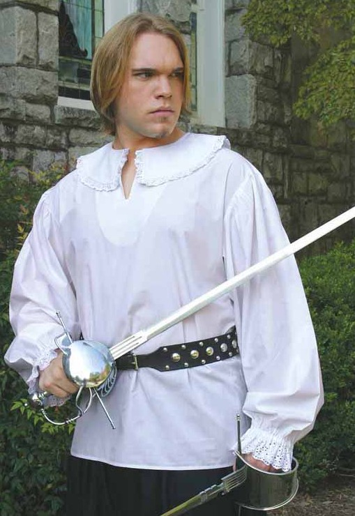 Musketeer shirt, white with lace trimmed collar and cuffs.