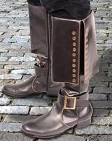 Dragoon boots, 17 inches tall, gold trim, metal buckle, metal button trim on foldover cuff