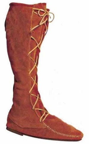 High suede Medieval boot, brown or black, with or without fringe, leather thong laceup