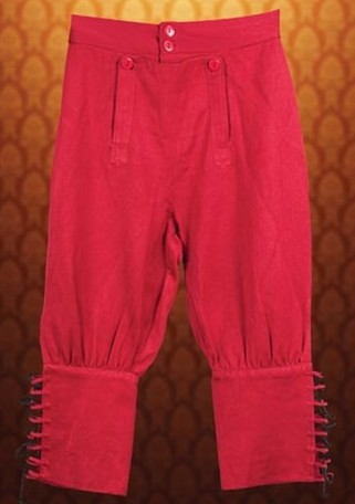 Hgh seas pirate pants, boot-cut length in red, also available in black.