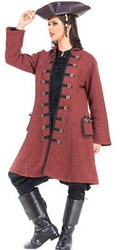 Capt. Delahaye coat in rustic faded red cotton with wood buttons