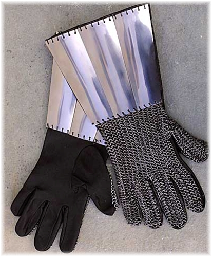 Leather gauntlets with steel lames and chain mail on the backs of the hands.
