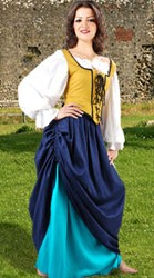 Tavern Wench ensemble includes double skirt, reversible bodice with front and back laces, thigh-length Classic chemise.