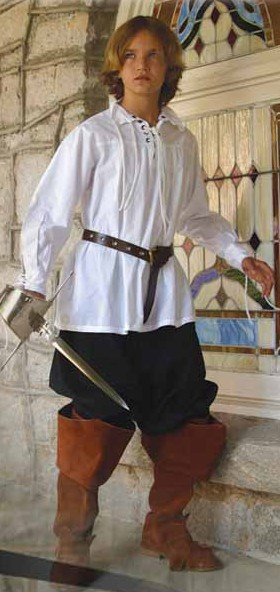 Boys Swordsman Shirt in white cotton with lace-up front and sleeves.