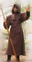 Boy's Monk Robe in heavy brown woven cotton, with hood and belt
