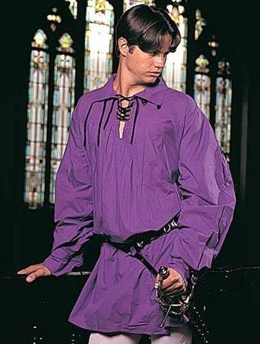 Swordsman shirt in purple. Also in black or white.