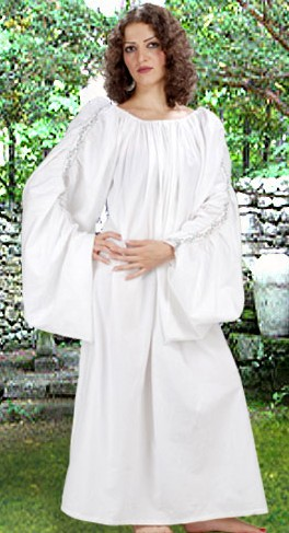 Celtic chemise in white, gathered sleeves are decorated with white lace trim from wrist to shoulders.