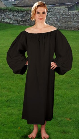 Renaissance Chemise in four colors.  Shown in black, also available in red, natural and mustard.