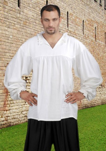 Ealry Renaissance Pirate Shirt in white, also available in black.