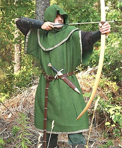 Green Overtunic with Archer's Sleeves and Hood