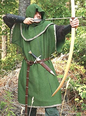 Robin Hood Green Overtunic, shown with European Longbow.