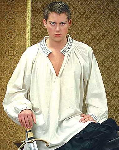 King Henry VIII Cross Shirt as seen in The Tudors  - natural color, all cotton shirt with embroidered cross pattern on collar and cuffs, hook and eye close.