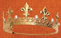 Coronet crown, gold finish with  fleur de lis and faux pearls
