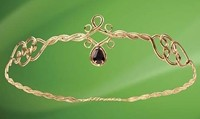 Circlet Crown in gold-tone with faux amethyst teardrop in front