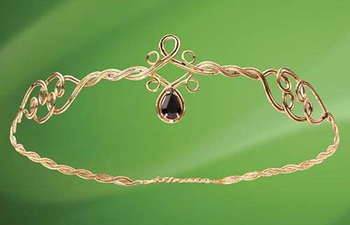 Circlet Crown of antiqued brass wire with faux onyx teardrop in front, adjustable chain in back.