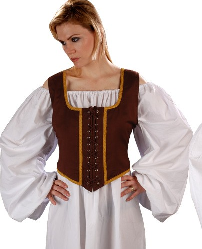 Decorated Wench Bodice, chocolate  reverses to light brown.
