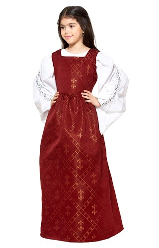 Girls Fleur De Lis Dress in red