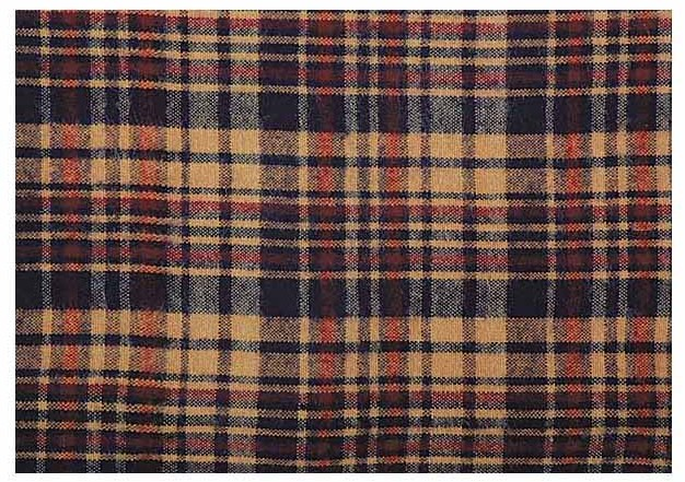photo of camel and navy plaid fabric swatch for Early Kilt