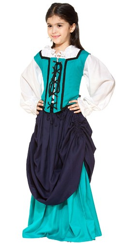 Girls double skirt, navy and turquoise, other colors available.