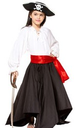 Girls' black pirate skirt