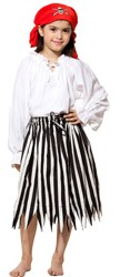 Girls' black and white striped pirate skirt.