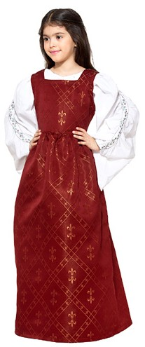 Girls' Fleur de Lis dress in burgundy red.