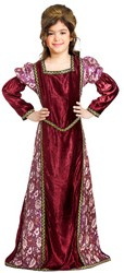 Girls' princess dress in rose velvet and brocade.