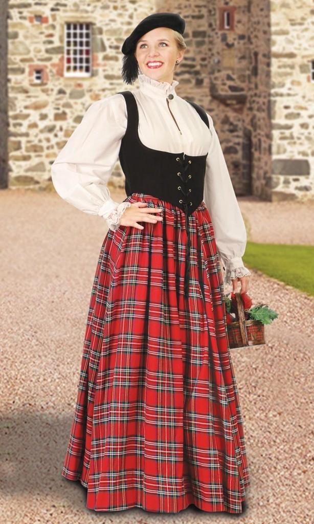 Highlands Dress looks like a bodice, chemise and skirt, but is actually a one-piece dress that matches our Union kilt for a great bride and groom Renaissance ensemble!