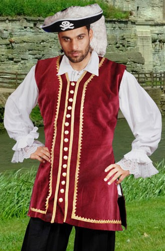 Captain Eaton Pirate Vest in burgundy velvet with gold braid trim and functional gold-tone buttons down front.