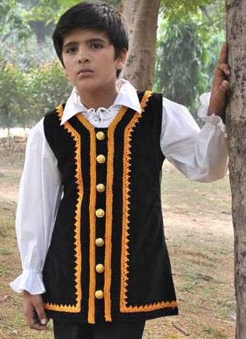 Boys Capt. Jack vest, black velvet with gold braid trim