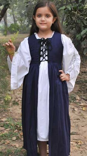 Girls Fair Maiden overdress, navy, also in red and green