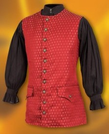 Scoundrel vest in red and gold brocade.