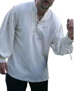 Morgan pima cotton pirate shirt, lace-up neck and cuffs, in white