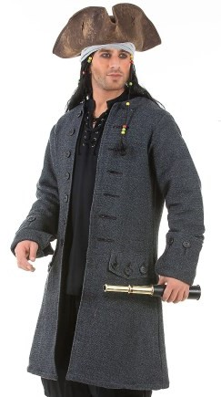 Jack Sparrow Pirate Captain Coat in dark grey, wood buttons