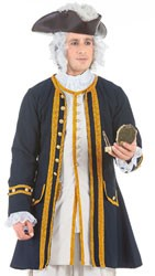 Admiral Coat in Navy cotton, full satin lining, gold braid and button trim.