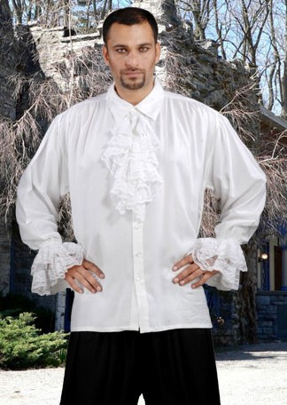 John Calles Pirate Shirt in white, also available in black.