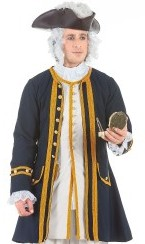 Admiral Coat in navy with gold braid and button trim.