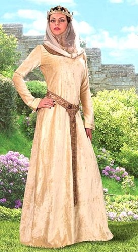 Princess Isabelle ensemble of cream colored crushed velvet, as seen in the movie, Braveheart.