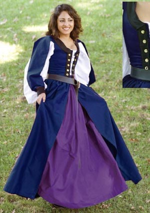 Celtic dress in navy, worn with chemise and gathered skirt.