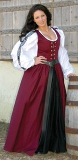 Irish dress in burgundy.