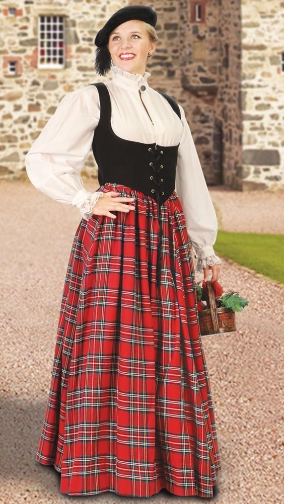 Scottish skirt in red plaid. Also in green plaid.