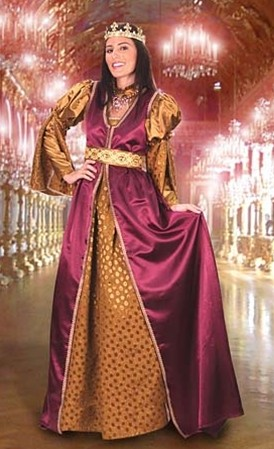 Lady in Waiting 3-piece Gown has burgundy overgown, gold underdress with open sleeves, Royal gold trim and matching belt.