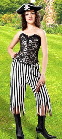 Striped pirate wench pants. 3 colors.