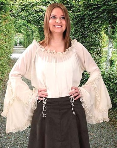 Peasant Blouse in white, slightly crinkled polyester, lace-edged, waterfall bell sleeves and elastic neckline.