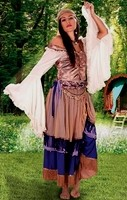 Gypsy Queen ensemble in dusty rose witn purple trim, shown with Peasant Blouse.