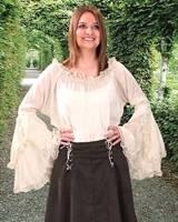Peasant Blouse in slightly crinkled white polyester with lace-trimmed waterfall bell sleeves