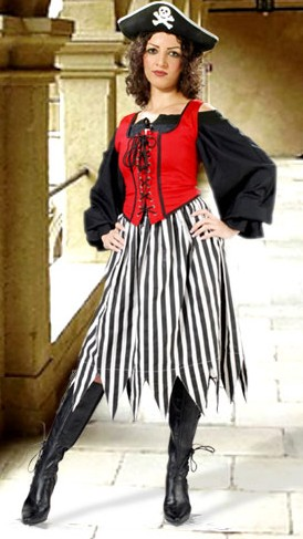 Striped Pirate Skirt in black and white stripes.  Also available in red-white and red-black stripes.