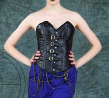 Faux leather Steampunk overbust corset with buckle and strap closures