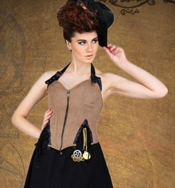 Zippered underbust corset in tan ultrasuede