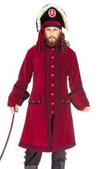 Capt. Lowther pirate coat in burgundy velvet.